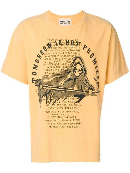Żółty t-shirt bawełniany krótki rękaw Warren Lotas