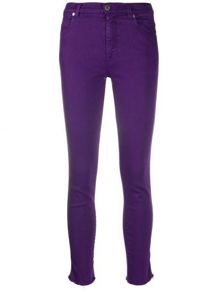 Облегающие фиолетовые джинсы-скинни с нашивками эластичные Pt01