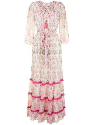 Платье макси в цветочный принт - белое Hemant And Nandita
