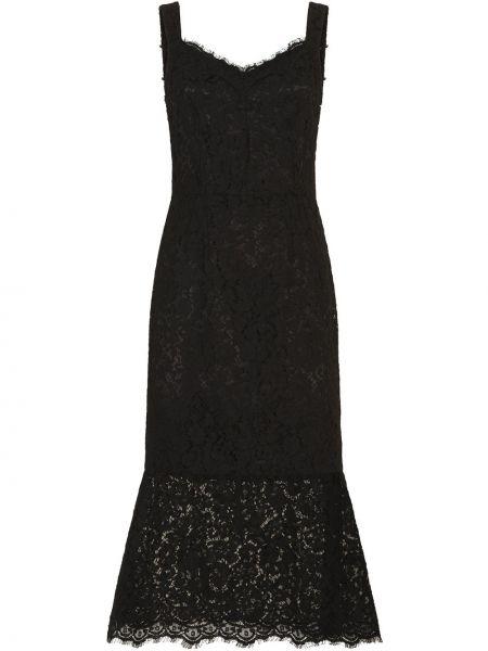 Кружевное черное платье на бретелях Dolce & Gabbana