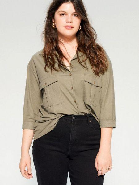 Блузка с длинным рукавом зеленый весенний Violeta By Mango