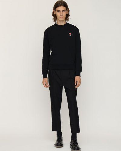 Bawełna bawełna czarny bluza z haftem Ami Alexandre Mattiussi