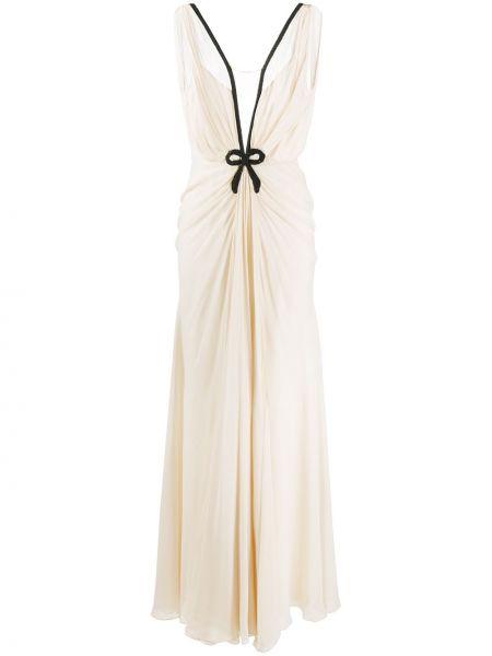 Шелковое платье с вышивкой с V-образным вырезом на молнии Ports 1961