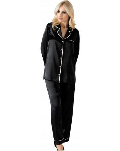 Czarna satynowa piżama z długimi rękawami Vienetta