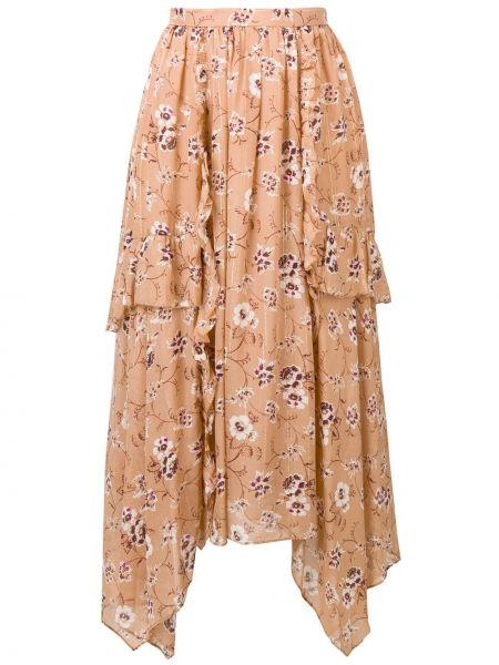 Юбка миди асимметричная с цветочным принтом Ulla Johnson