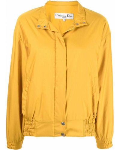 Żółta długa kurtka ze stójką z nylonu Christian Dior