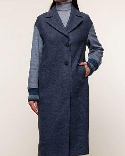 Синее шерстяное длинное пальто с воротником синар