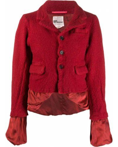 Красное шерстяное длинное пальто на пуговицах со вставками Comme Des Garçons Noir Kei Ninomiya