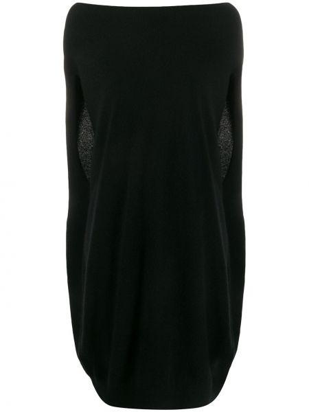 Z kaszmiru czarna sukienka mini bez rękawów Frenckenberger