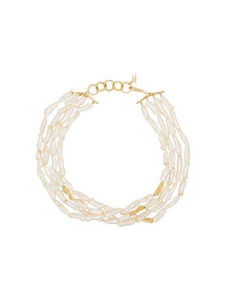 Złoty naszyjnik perły pozłacany Joanna Laura Constantine