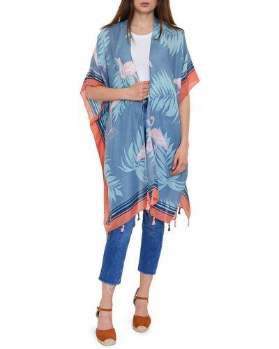 Niebieski kimono z printem Lulla Collection By Bindya