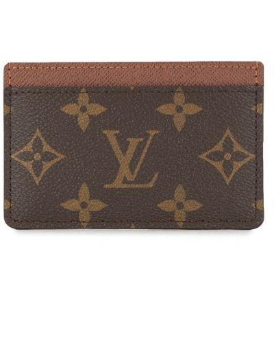 Коричневая кожаная визитница прямоугольная Louis Vuitton