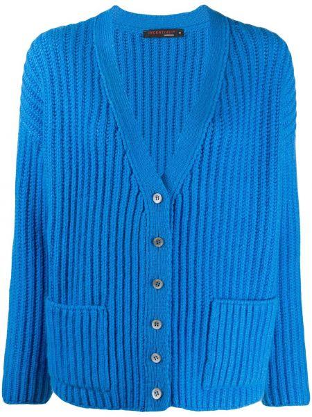 Прямой синий вязаный кардиган на пуговицах с V-образным вырезом Incentive! Cashmere