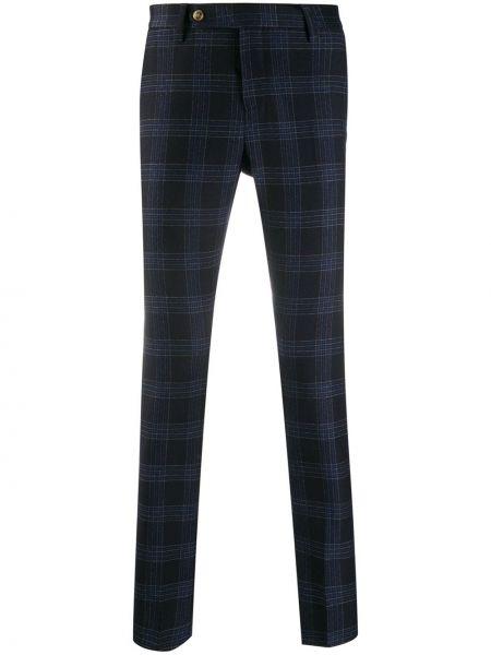 Шерстяные синие брюки с поясом на молнии Entre Amis