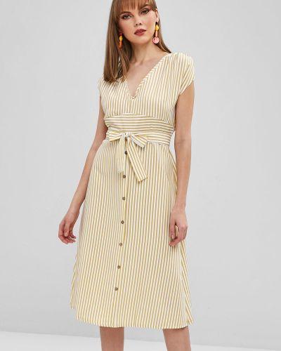 Платье с поясом с декольте в полоску Zaful