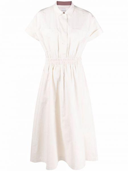 Шелковое бежевое платье-рубашка с короткими рукавами Paul Smith