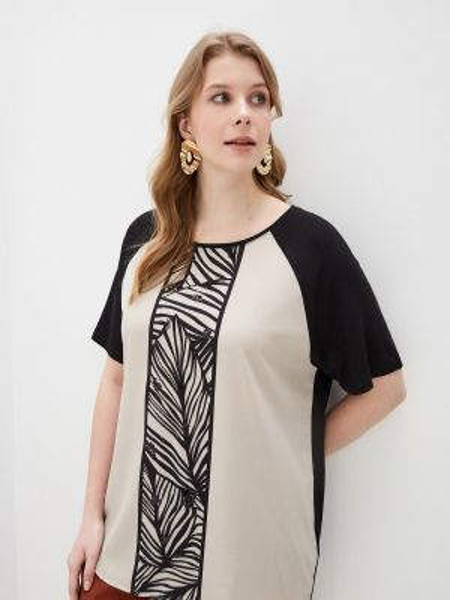 Блузка с коротким рукавом черная весенний Elena Miro