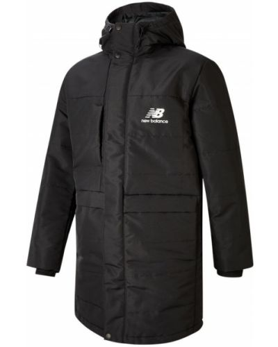 Черная пуховая длинная куртка с карманами New Balance