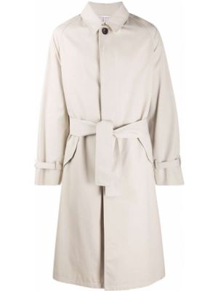 Коричневое длинное пальто с воротником с карманами Thom Browne