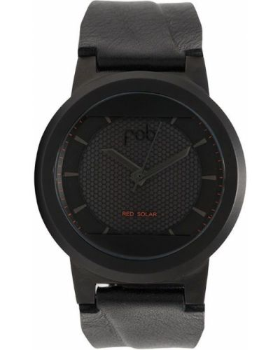 Czarny zegarek na skórzanym pasku skórzany klamry Fob Paris