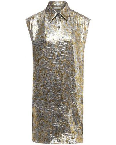 Шелковая серебряная блузка Dries Van Noten