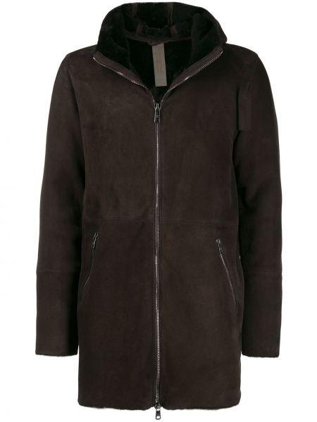 Brązowy płaszcz skórzany z długimi rękawami Giorgio Brato