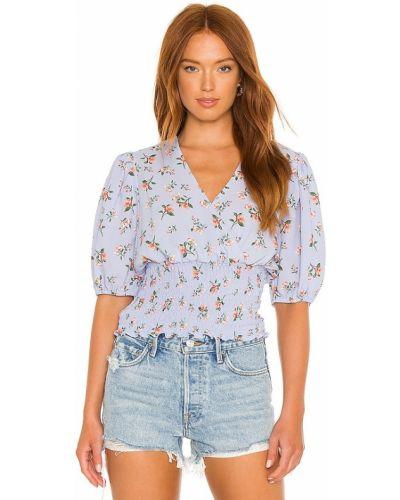 Синяя текстильная блузка с V-образным вырезом 1. State