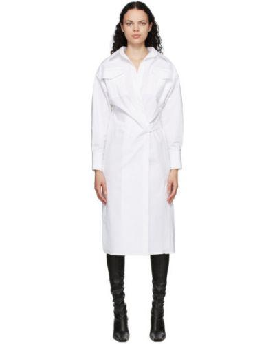 Открытое белое платье макси с длинными рукавами с поясом Proenza Schouler