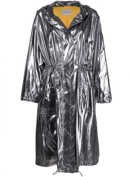 С рукавами серое длинное пальто металлическое с карманами Stand Studio