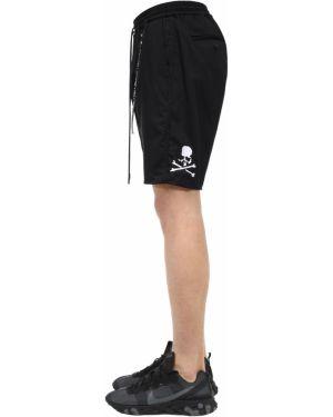 Czarne krótkie szorty z haftem bawełniane Mastermind World