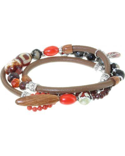 Кожаный браслет с агатом деревянный Nature Bijoux