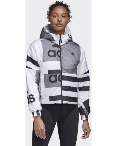Спортивная белая утепленная куртка двусторонняя Adidas