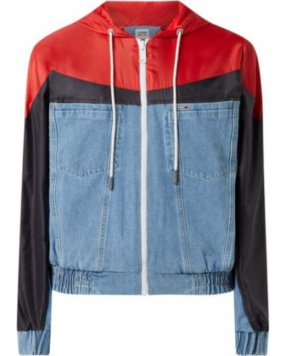 Niebieski bawełna kurtka jeansowa z kapturem Tommy Jeans