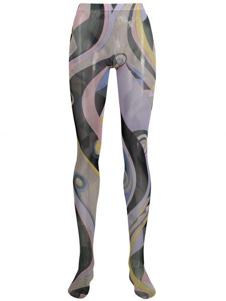 Fioletowe rajstopy z printem z wysokim stanem Emilio Pucci
