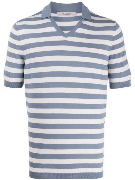 Свободная синяя прямая рубашка с короткими рукавами с V-образным вырезом La Fileria For D'aniello
