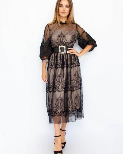 Платье с поясом - черное My Twins
