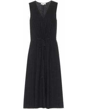 Льняное черное платье миди Vince.