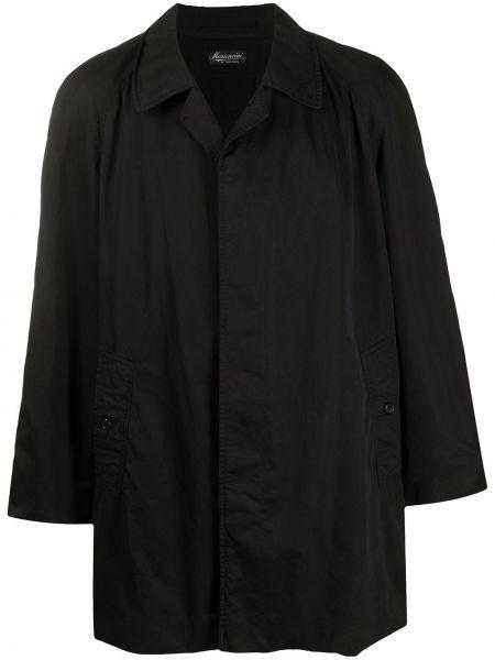Черное прямое длинное пальто с воротником на пуговицах Burberry Pre-owned
