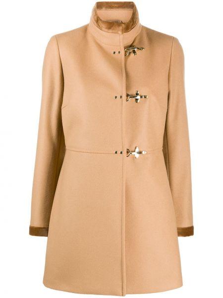 С рукавами коричневое шерстяное длинное пальто Fay