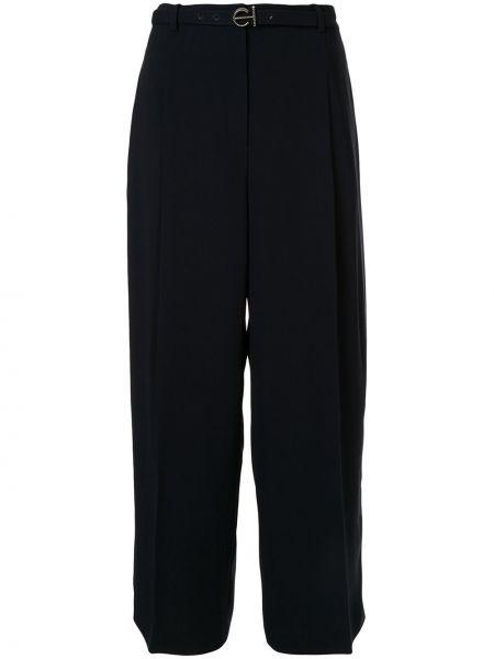 Czarne spodnie z wysokim stanem z paskiem Elie Tahari