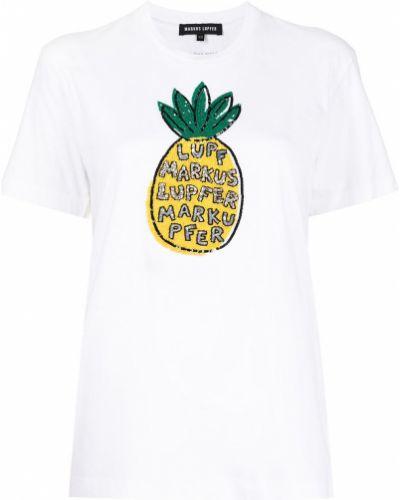 Белая футболка с вырезом с пайетками Markus Lupfer