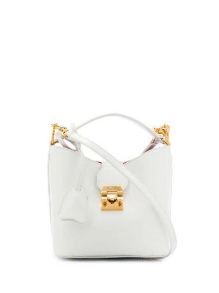 Кожаная белая маленькая сумка Mark Cross