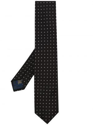 Czarny krawat w grochy z jedwabiu Polo Ralph Lauren