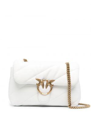 Золотистая кожаная белая сумка на цепочке Pinko