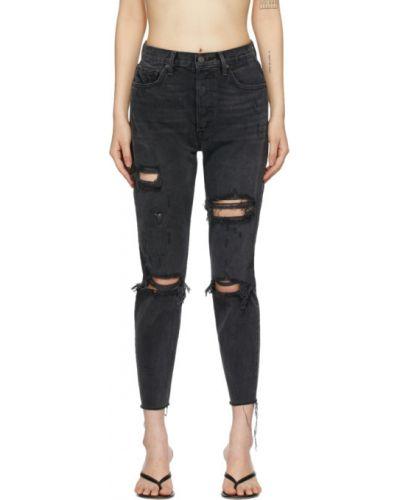 Черные джинсы-скинни стрейч с манжетами с заплатками Grlfrnd
