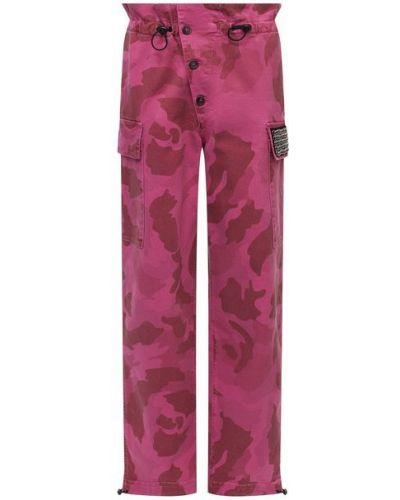 Хлопковые розовые брюки с манжетами с поясом Iceberg