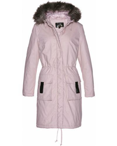 Розовая куртка с капюшоном свободного кроя из искусственного меха Bonprix