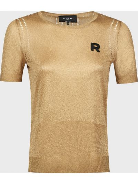 Футболка из полиэстера - золотая Rochas