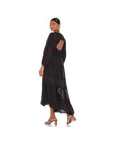 Кружевное черное платье с открытой спиной Free People