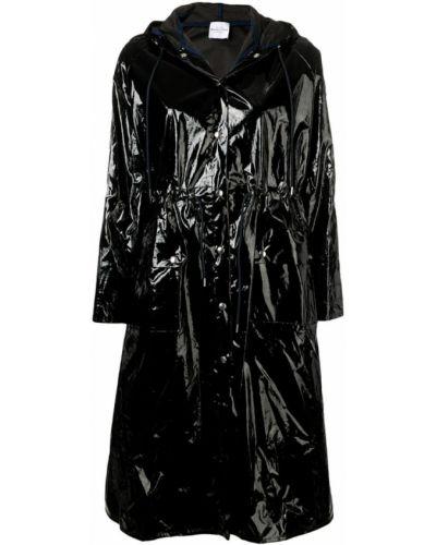Черное длинное пальто с капюшоном Roseanna